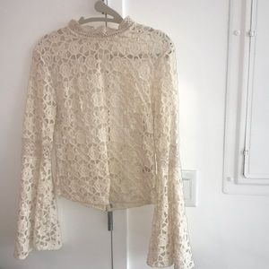 Free People small off white open back lace top
